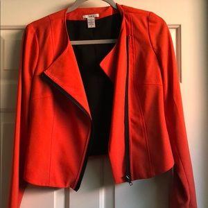Orange zip up blazer